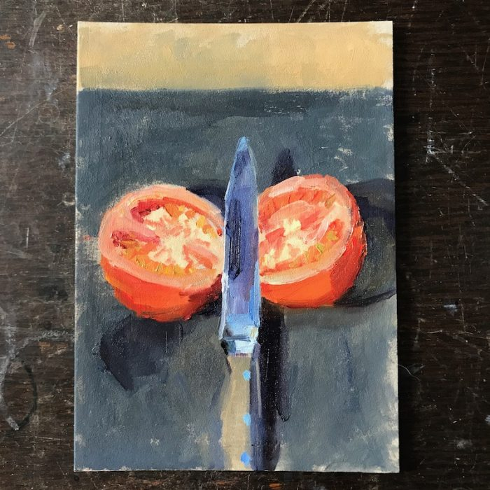 Diebenkorn Tomato and Knife 2020 20x15cms