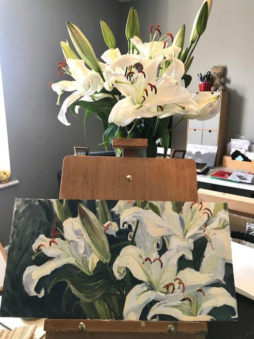 Lockdown Lilies  20x40cms 2020