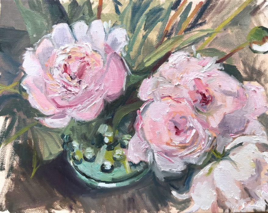 Peonies in Bobbly Glass Jug 2020 20x25cms