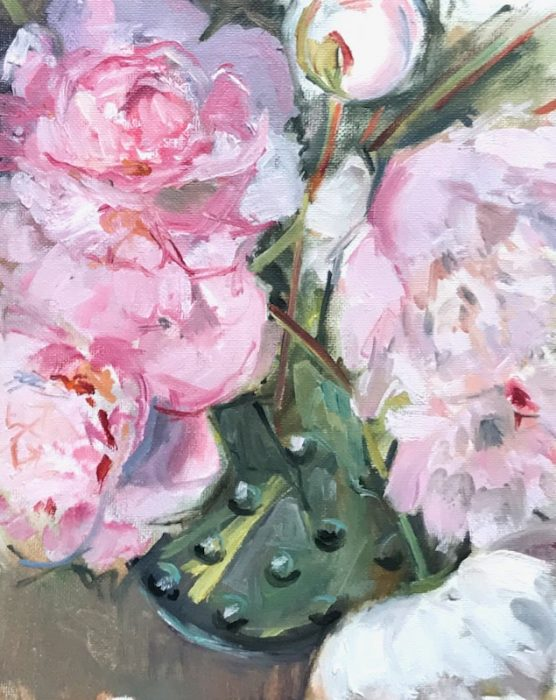 Peonies in Bobbly Glass Jug (portrait) 2020 20x25cms