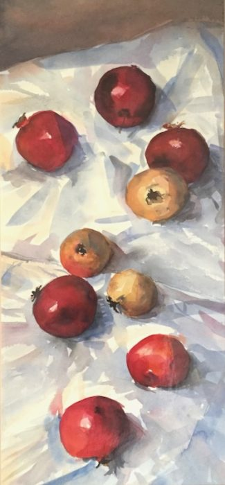 Pomegranates on a Sheet 2018 60x30cms approx