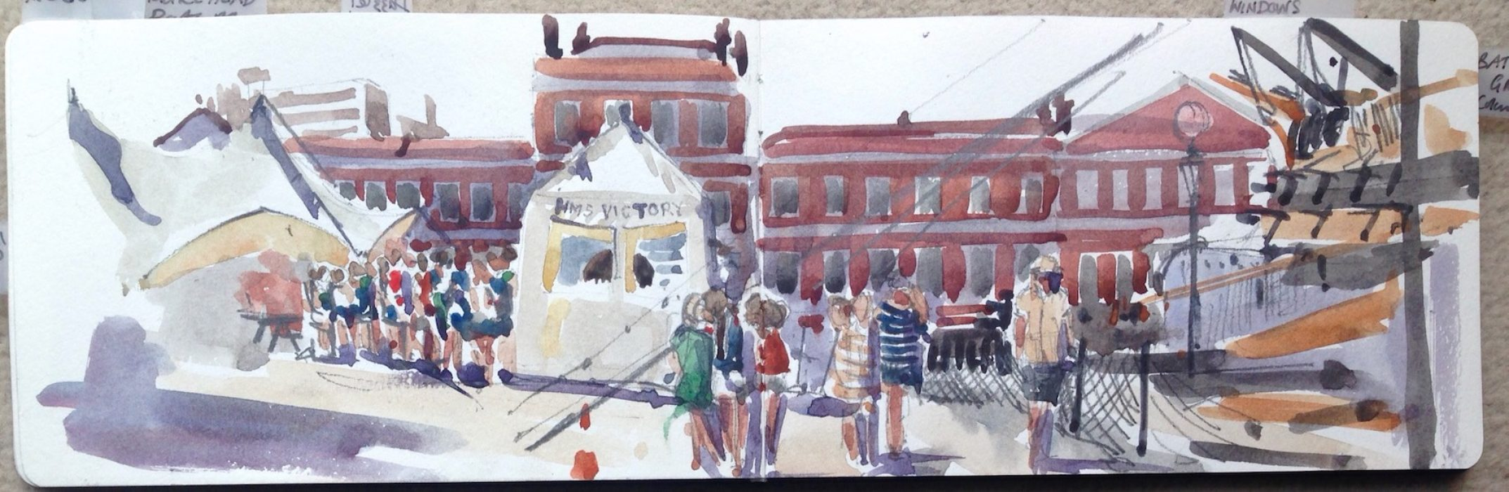 Queue for HMS Victory Sunday Times Watercolour Competition 2016 12x40cms