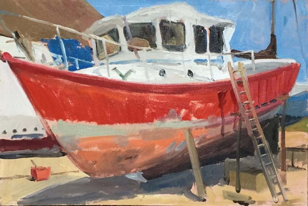 Red Boat Fareham Lower Quay 2017 20x30cms
