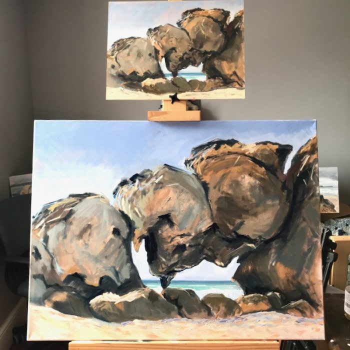 Sea View Rocks; San Vicente de al Barquera (with sand!) 2020 60x80cms