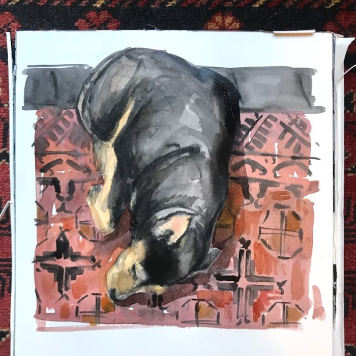 Small Dog on Rug Zorn Palette 25x25cms