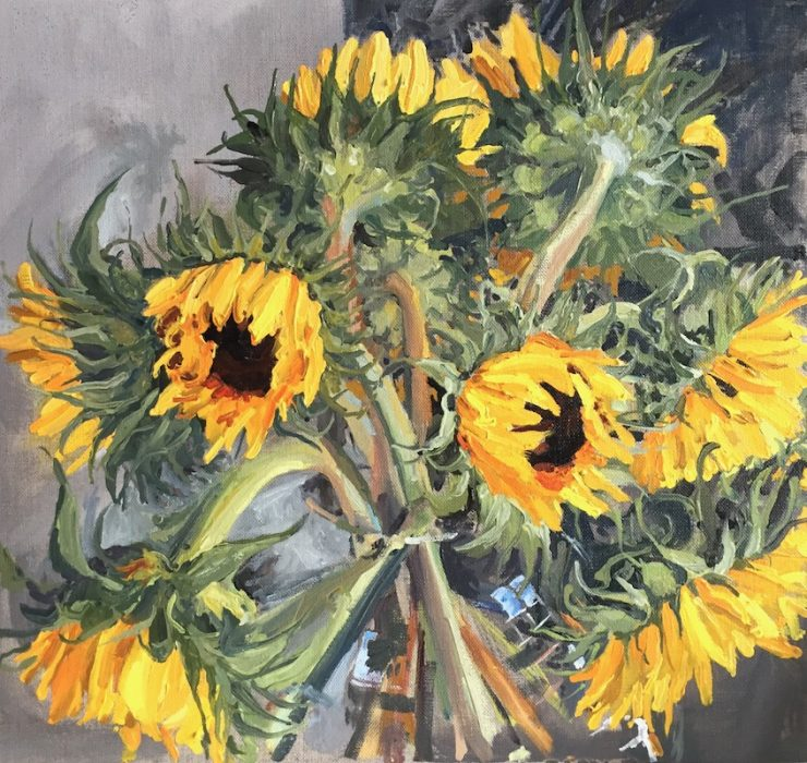 Sunflowers; Hampshire Open Studios 2018 40x40cms
