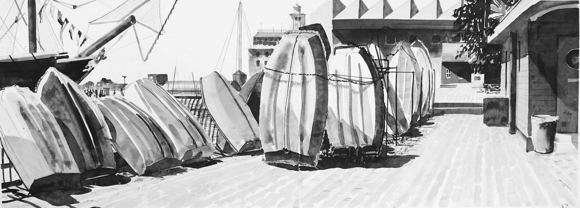 Sunny Day Portsmouth Hard 2019 55x150cms