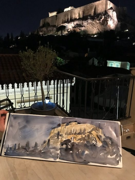 The Acropolis at Night Sketchbook A4 double page