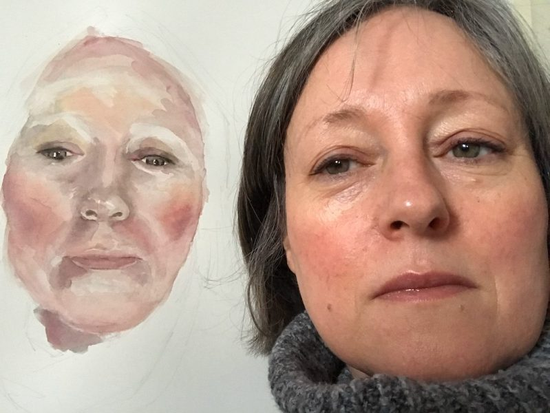 Watercolour self portait beginning....2019