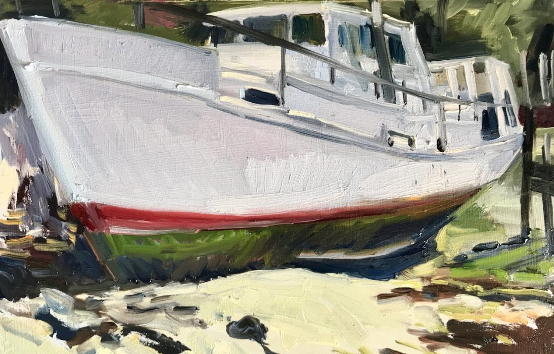 White Boat; Fareham Creek 2019 20x30cms