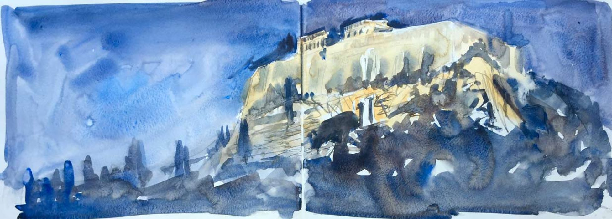Acropolis at Night, Athens double sketchbook A4
